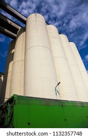 Group of concrete agricultural grain silos