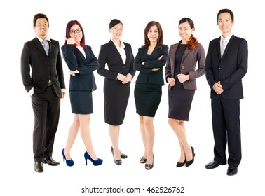 Group of confident asian business executives