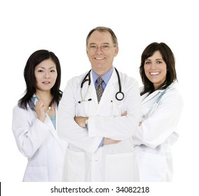 A group of confident Caucasian and Asian doctors and nurses with their arms crossed displaying some attitude and smiling isolated on a white background