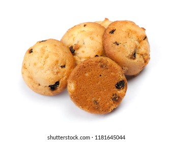 Group of cookies with raisins isolated on white background