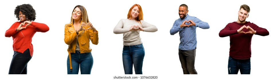 Group of cool people, woman and man happy showing love with hands in heart shape expressing healthy and marriage symbol