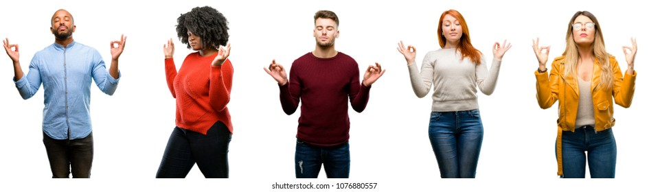 Group of cool people, woman and man doing ok sign gesture with both hands expressing meditation and relaxation