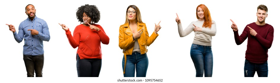 Group of cool people, woman and man pointing away side with fingers