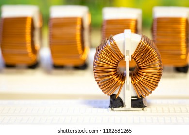 Group of copper spring coils on ferrite core