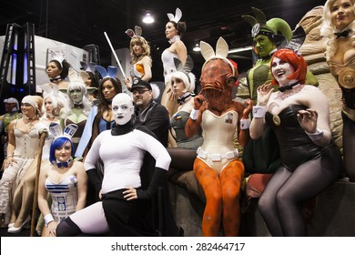 A group of cosplayers dressed as bunny versions of characters from the Star Wars films at the Star Wars Celebration in Anaheim California, April 2015.