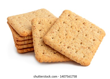 group of crackers isolated on white