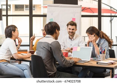 Group of creative worker brainstorm together in office, new style of workspace