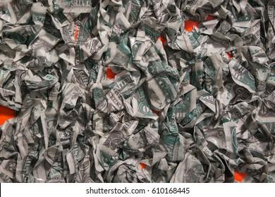 Group of Crumpled Dollar Money