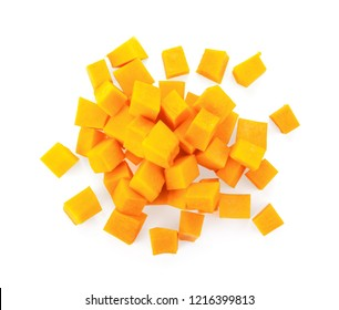 A group of cut and slice butternut squash chunks on a white background