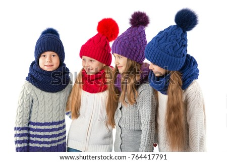 086bc61339d11b Group of cute kids in winter warm hats and scarfs isolated on white.  Children winter