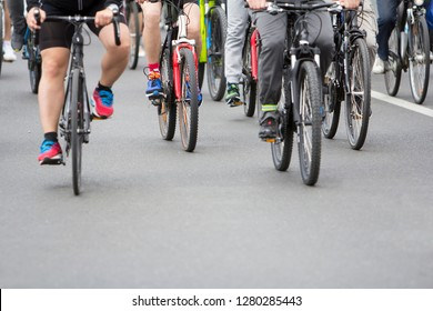 Group of cyclist during at bike street race