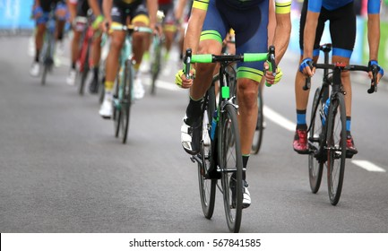 group of cyclists during the final sprint to win the stage of the cycling race