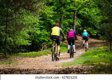 Group of cyclists on the forest trail - family trip on bikes in lush green nature