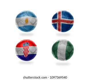 group D . realistic football balls with national flags of argentina, iceland, croatia, nigeria. soccer teams. 3D illustration