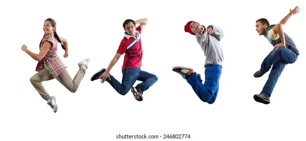 Group of dancer in jump isolated on white