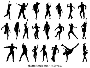 group of dancing people in action illustration Also vector variant in my portfolio.