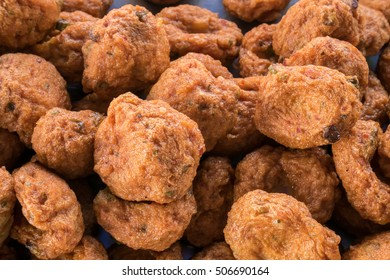 The group of delicious fried fish-paste balls. (Thai food)