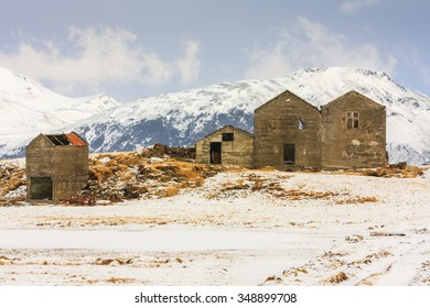A group of derelict farm buildings in Iceland.