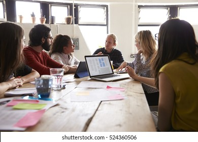 Group Of Designers Meeting Around Table In Modern Office
