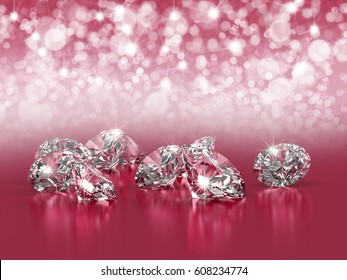 Group of diamonds placed on pink background with light bokeh, 3D illustration.