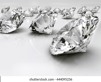 Group of diamonds placed on white background, 3D illustration.