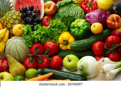 Group of different fruit and vegetables