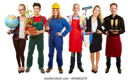 Group with different occupations for employment agency ad
