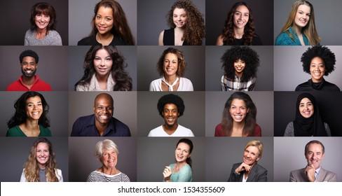 Gruppe verschiedener Personen auf buntem Hintergrund