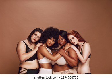 Group of different size women in lingerie looking at camera with proud. Multiracial women in different under garments posing together.