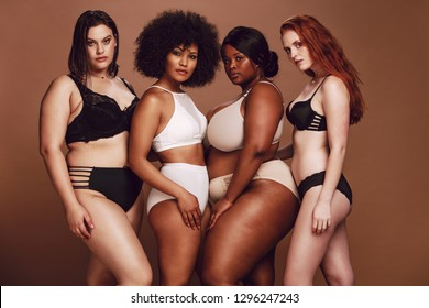 Group of different size women in lingerie looking at camera. Multi-ethnic women in different under garments posing together in studio.