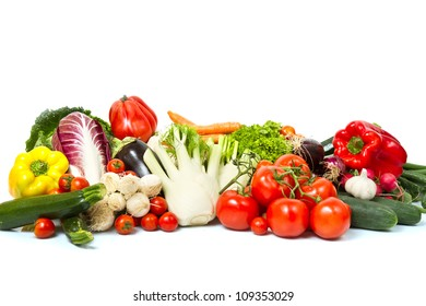 Group of different vegetables on white background