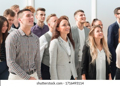 group of diverse business people looking in one direction