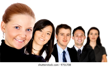 group of diverse business people smiling and isolated over a white background