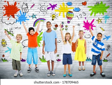 Group of Diverse Children Playing with Colorful Background