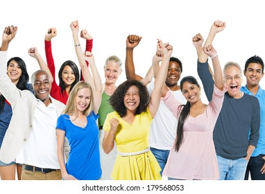 Group of Diverse Colorful World People Celebrating