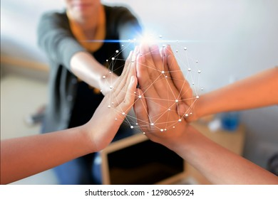 Group of Diverse Hands Together Joining with network Connection background .Teamwork concept.