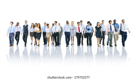 Group of Diverse International Business People Walking