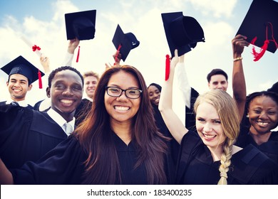 Group of Diverse International Graduating Students Celebrating