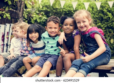 Group of Diverse Kids Sitting Together