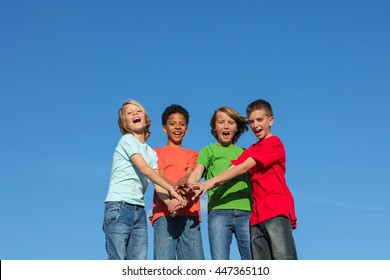 group of diverse kids or teens hands together