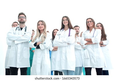 group of diverse medical professionals standing in a circle