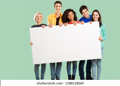 Group of diverse multiethnic happy young people