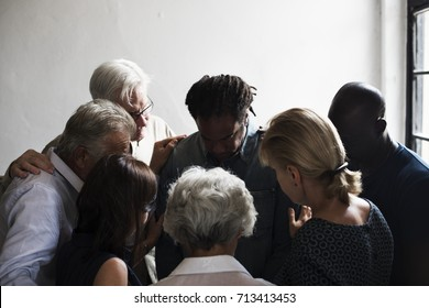 Group of diverse people gathering together support teamwork