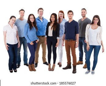 Group of diverse people isolated over white background