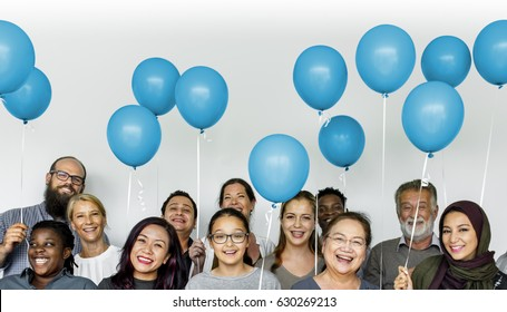 Group of Diverse People with Party Balloons