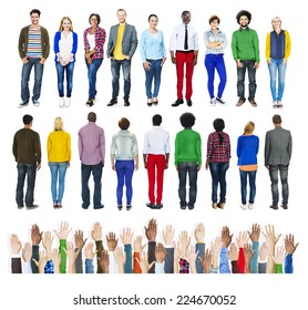 Group of Diverse People Standing with Human Hands