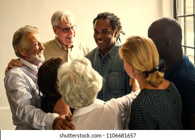 Group of diverse people supporting each other