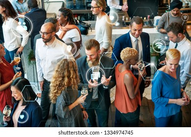 Group of diverse people talking in a cafe