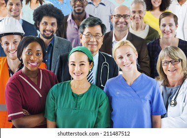 Group of Diverse People with Various Occupations