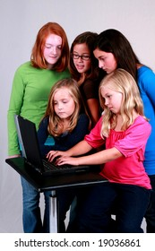 group of diverse preteens on the internet
